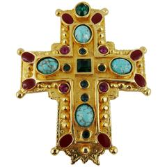 Christian Lacroix Vintage Rare Massive Jewelled Gold Tone Cross Brooch Pendant