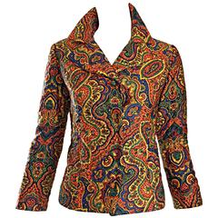 Rare Vintage Wippette 1960s Mod Paisley Cotton Quilted Psychedelic Blazer Jacket
