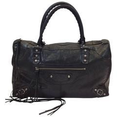 Balenciaga Black Leather Fringe Studded Handbag