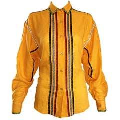 Vintage Kenzo 1990s Marigold Yellow German Inspired Linen + Cotton Blouse Top