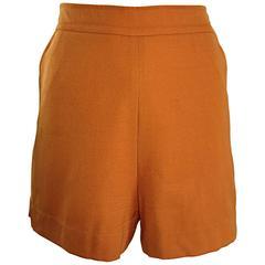 Vintage Alberta Ferretti Terra Cotta 1990s HIgh Waisted  90s Virgin Wool Shorts