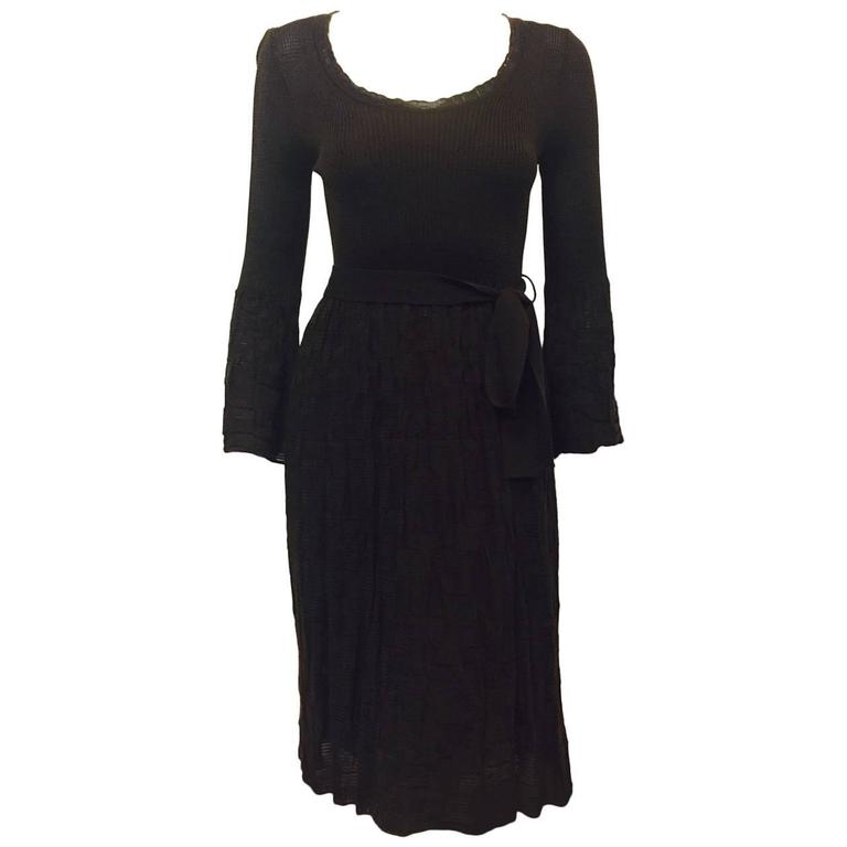 M Missoni Belted Chocolate Wool Blend Knit Day Dress With Bell