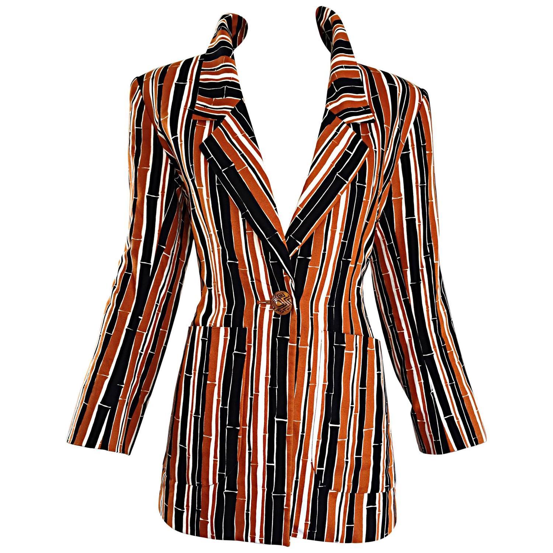 e547840e969 YSL Vintage Yves Saint Laurent Rive Gauche Bamboo Print Cotton Blazer Jacket  at 1stdibs