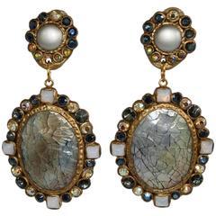 Ella K Mother of Pearl and Swarovski Crystal Clip Earrings