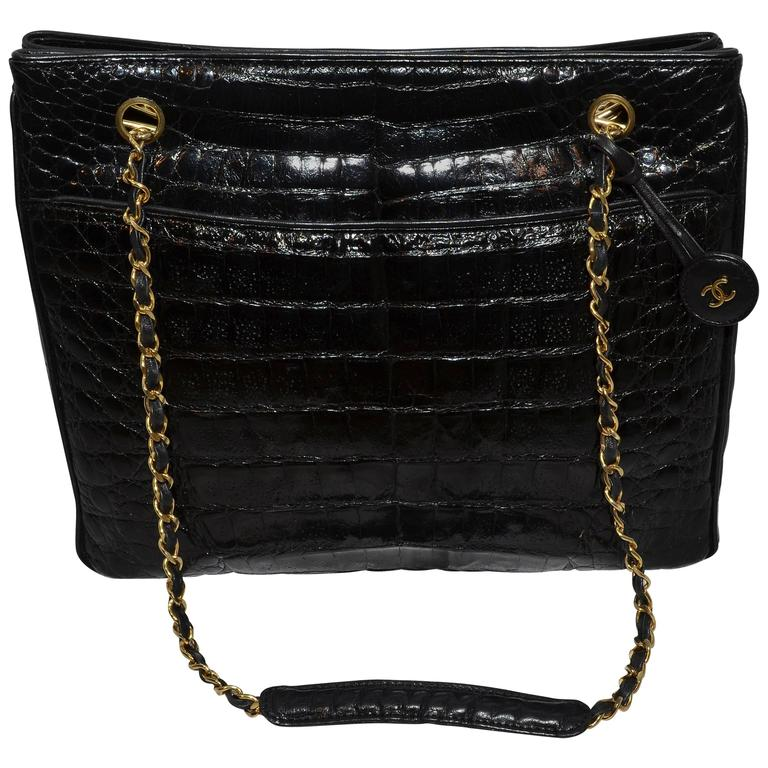 Chanel Black Crocodile Tote With Gold Hardware