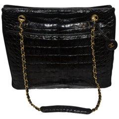 Chanel Black Crocodile Tote With Gold Hardware