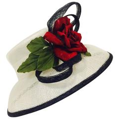Herald & Heart Hatters Ivory and Back Parasisal Hat With Rapturous Red Rose