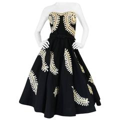 1950s Full Skirt Hand Applied Cord Applique Strapless Dress