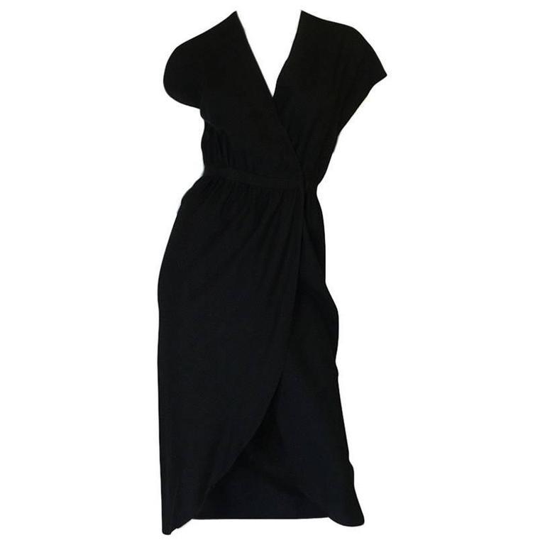 1970s Halston Black Minimalist Silk Wrap Dress