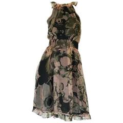 2008 Dolce & Gabbana D&G Silk Organza Halter Dress