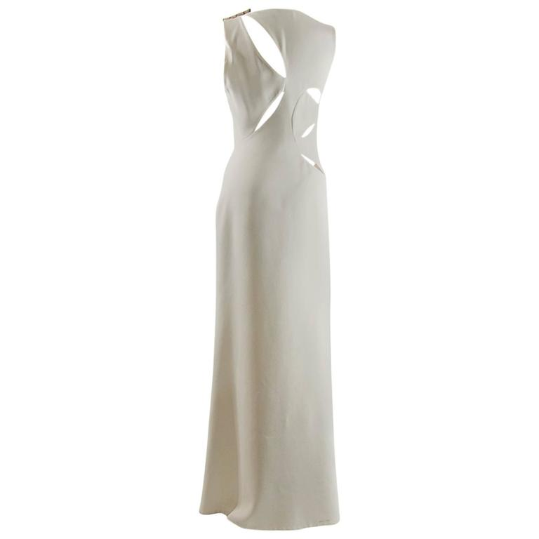 Versace Assymetrical Cutout ivory  gown For Sale