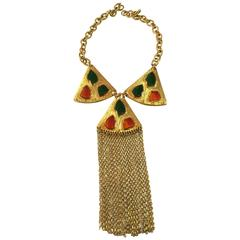 1960s TRIFARI Poured Glass Mosaic Goldtone Fringed Tassel Necklace