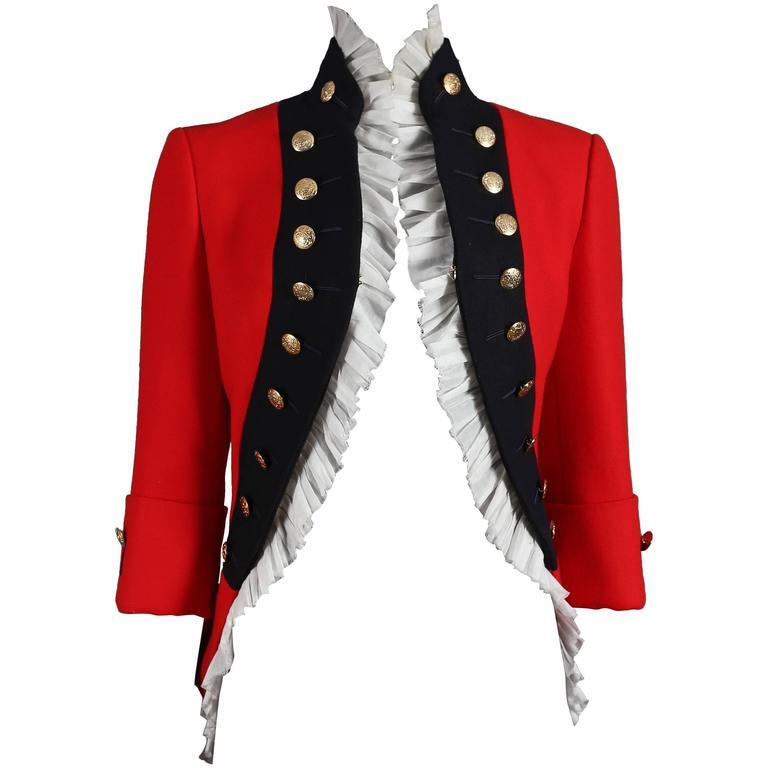 Alexander McQueen red matador style jacket, circa 2008 For Sale