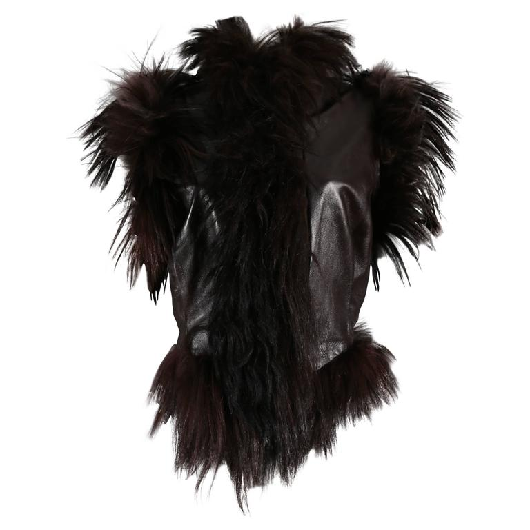 Alexander McQueen goat hair and leather gillet jacket, circa 2000 1