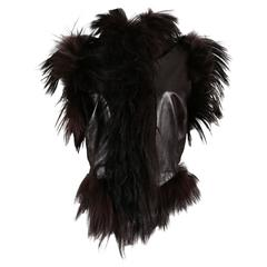 Alexander McQueen goat hair and leather gillet jacket, circa 2000