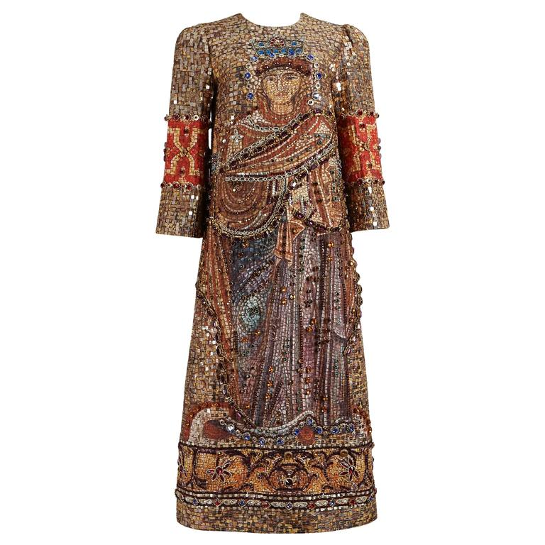 Dolce & Gabbana mosaic embellished shift dress, circa 2013 1