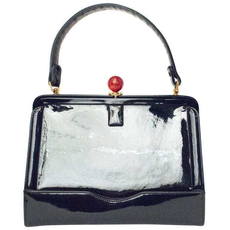 50s Coblentz Black Patent Leather Handbag