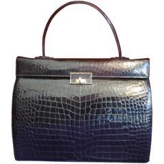 exclusive black crocodile leather kelly style handbag