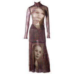 Jean Paul Gaultier Sheer Face Print Top and Skirt Set