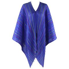"Issey Miyake ""Pleats Please"" Blue Colorful Ribbon Stripe Shawl Poncho Cape Dress"