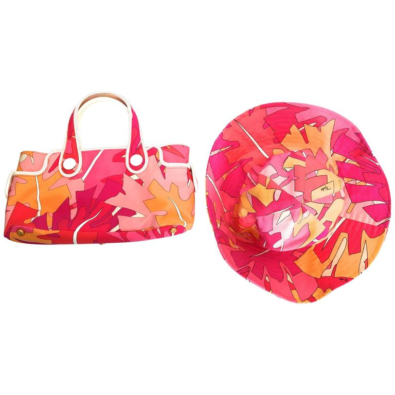 Emilio Pucci Hat and Matching Handbag