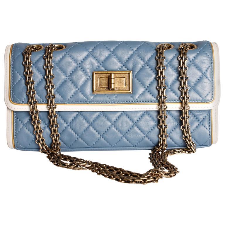 Chanel Baguette Bag - light blue/off-white/bronze For Sale