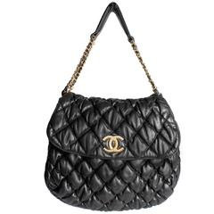 Chanel Bubble Quilted Flap Bag - black leather