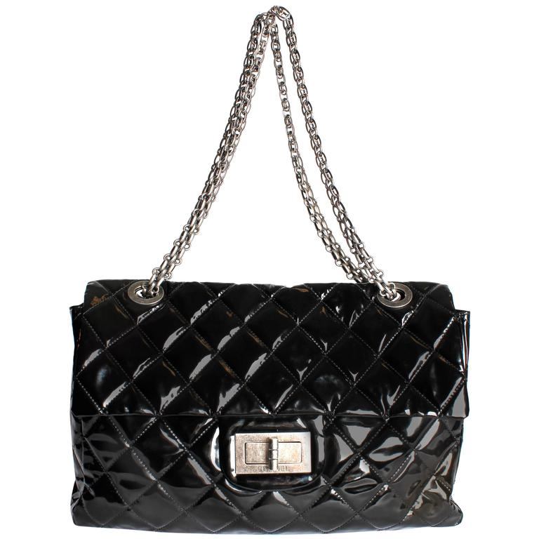 8b5969a62ef7 Chanel XXL Reissue Flap Bag - black patent leather at 1stdibs