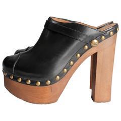 Chanel Heel Clogs - black leather
