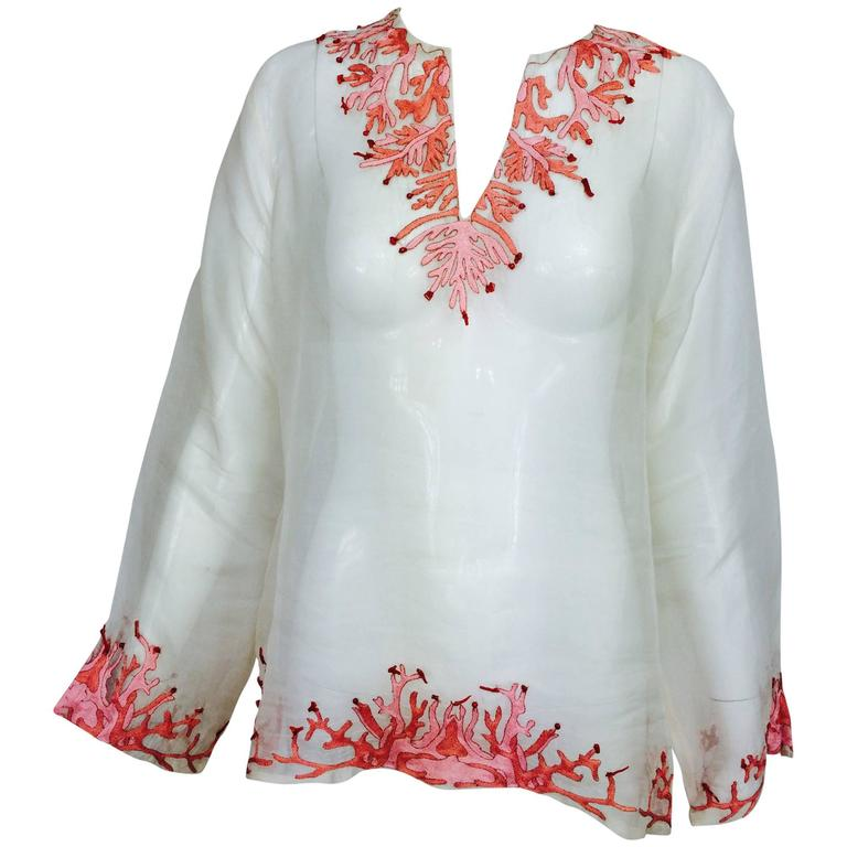Jeannie McQueeny white silk organza coral embroidered tunic top