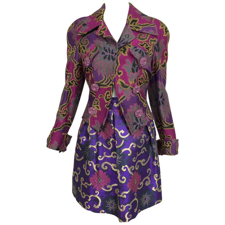 Vintage Purple brocade jacket & coordinating satin brocade mini skirt 1990s 1