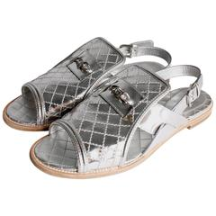 Chanel Sandals Quilted Leather - silver
