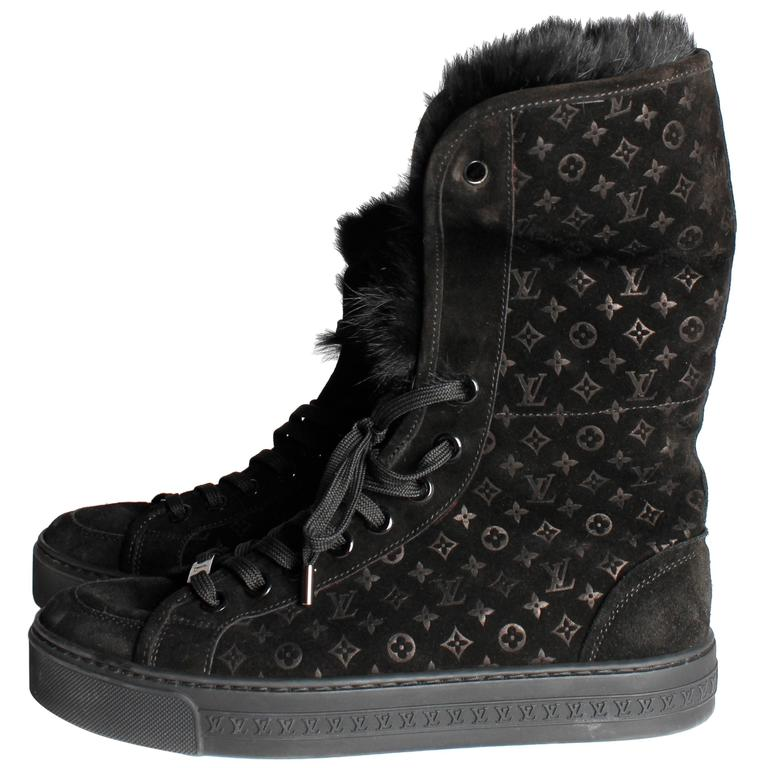1d8805ef7a6a Louis Vuitton Rabbit Fur Sneakers - black at 1stdibs