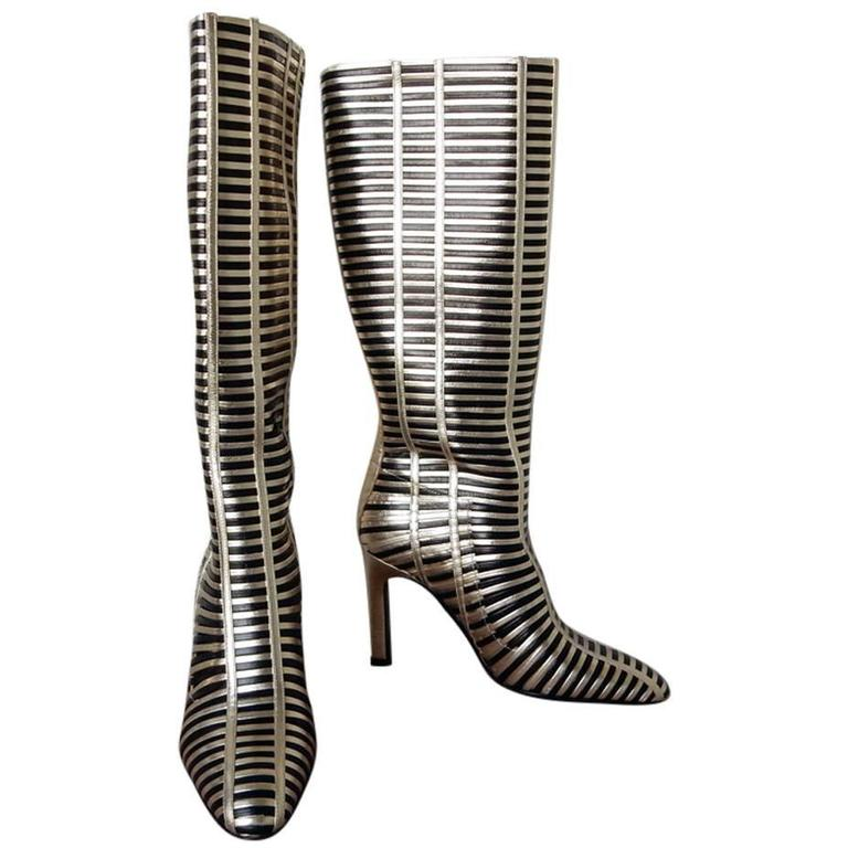 Valentino Black & Gold Lattice Lambskin Leather Runway Boots