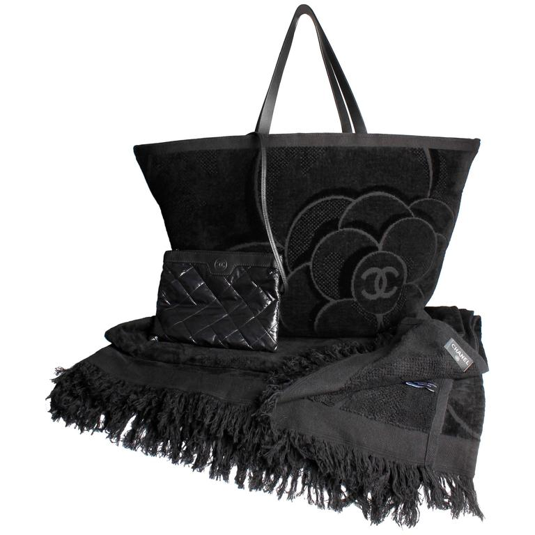 Chanel Camellia Terry Tote Towel Beach Bag - black at 1stdibs