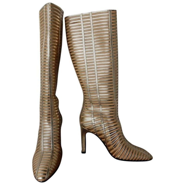 Valentino 2 Tone Gold Lattice Lambskin Leather Runway Boots