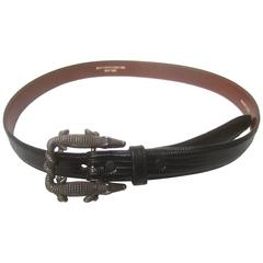 Kieselstein Cord Sterling Aligator Buckle Ebony Lizard Belt