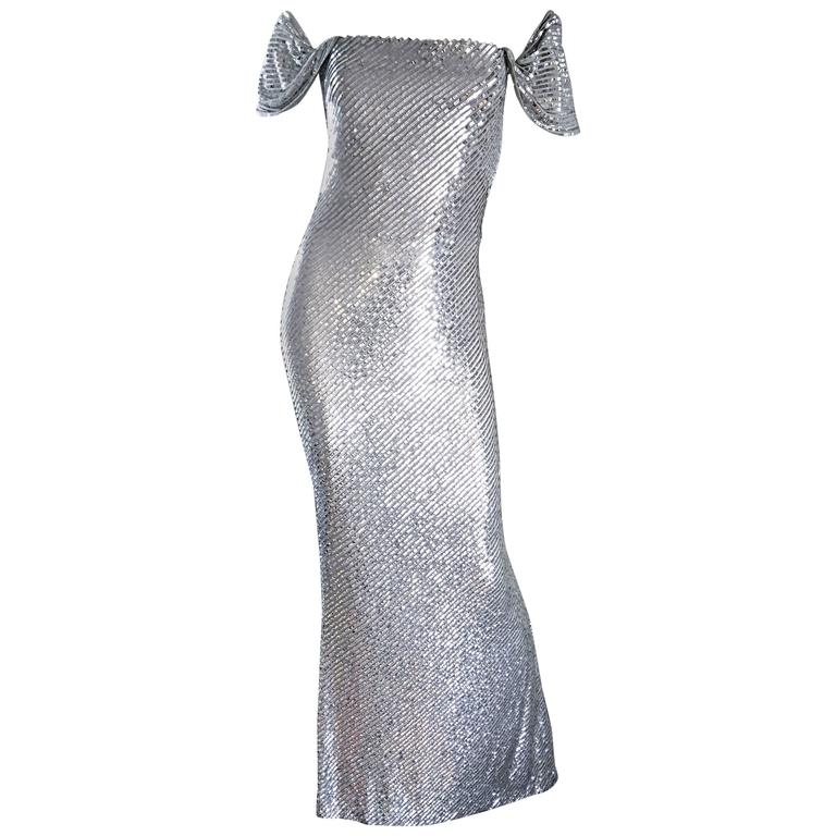 e02bbc2441 Bill Blass Couture Vintage Fully Sequined Silver Silk Grecian Gown For Sale