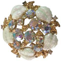 1950s SCHIAPARELLI Borealis White and Rhinestone Goldtone Floral Brooch Pin