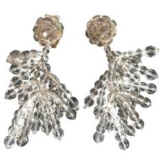 1950s Coppola e Toppo Grey and Clear Crystal Dangle Earrings