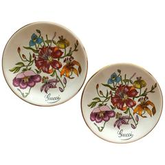 1970s Gucci Floral Trinket or Jewelry Dishes in Original Box