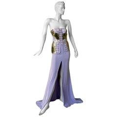 "Versace ""Alice in Wonderland"" Silk Leather & Metal Runway Dress Gown   New!"