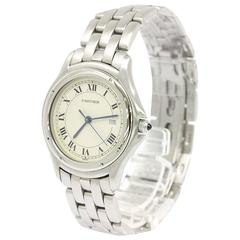 Cartier Panthere Round Stainless Steel Mid Size Watch in Box