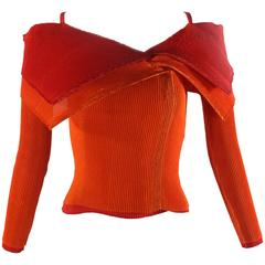Issey Miyake Red and Orange Sculptural Pleat Top