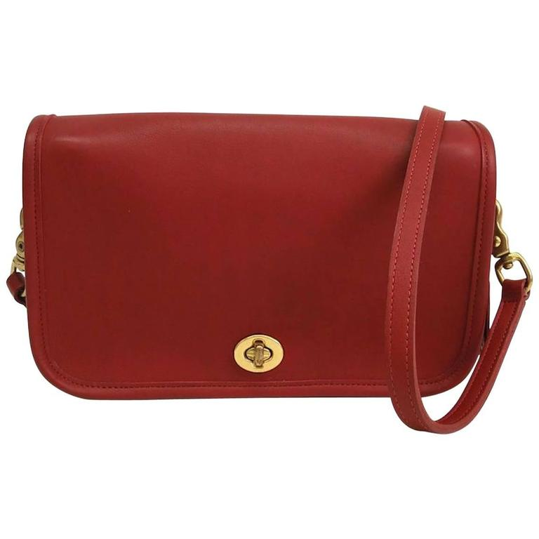 c65e4da2fbf Coach Vintage Red Leather Satchel Crossbody Shoulder Flap Bag at 1stdibs