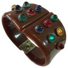 1930s Brown Bakelite Hinged Bracelet with Gem Tone Cabochon Sparkle