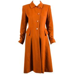 Vintage Hermes Burnt Orange Cashmere Flared Long Overcoat Size 36