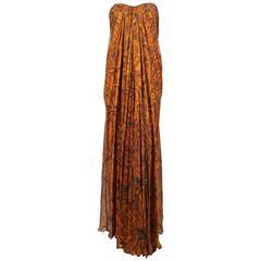 unworn ALEXANDER MCQUEEN paisley silk chiffon strapless dress - 2009