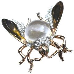 Rare Large Trifari Jelly Belly Fly Brooch / Insect