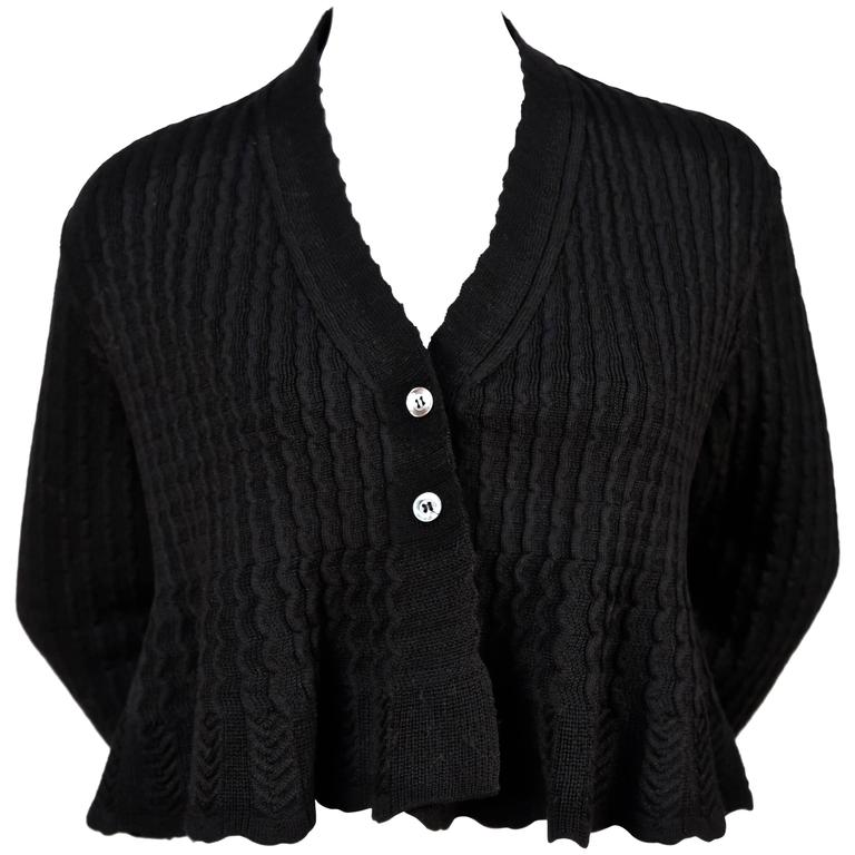 1990's AZZEDINE ALAIA black cropped cardigan sweater 1